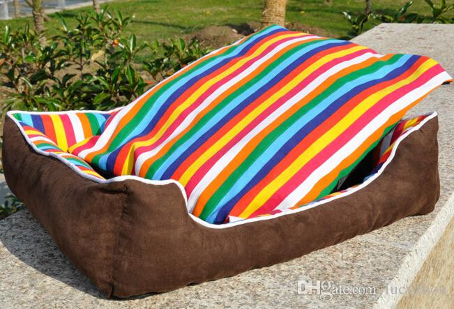 Lovely Rainbow Stripe Pet House Warm Good Quality Dog Cat House Kennel Soft Washable Pet Nest For Winter Coffee Color 4 Size Min Order