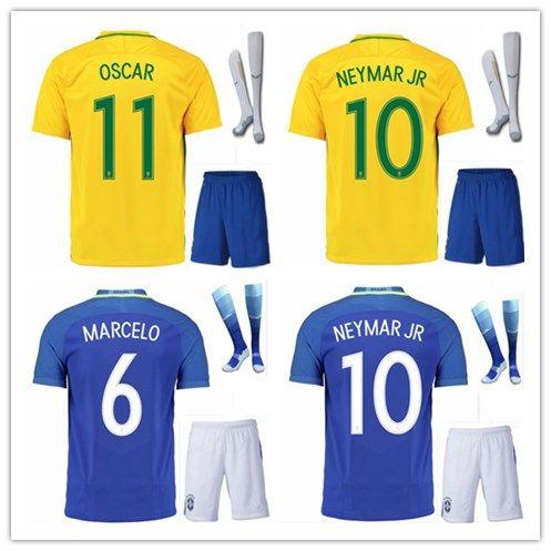 3a00b8a6412 ... pele ronaldinho coutonho g.jesus marcelo home ye  best quality 2016 brazil  soccer jersey kits home away t.silva oscar d.costa