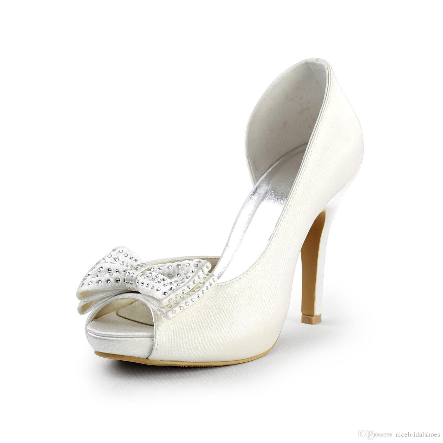 Rhinestones Nice Satin Delicate Style Wedding Shoes Custom Made 10 Cm High  Heel Bridal Shoes Party Prom Women Shoes With Bow Buying Shoes Online  Dressy ... 48208507f650