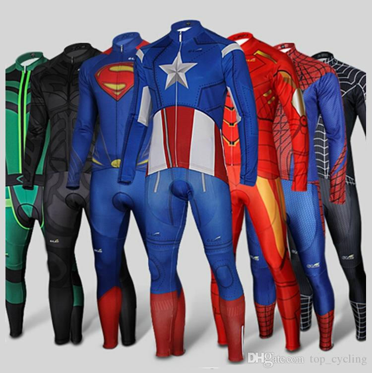 Super Hero Cycling Jersey Sets Superman Iron Man Black Spider Red