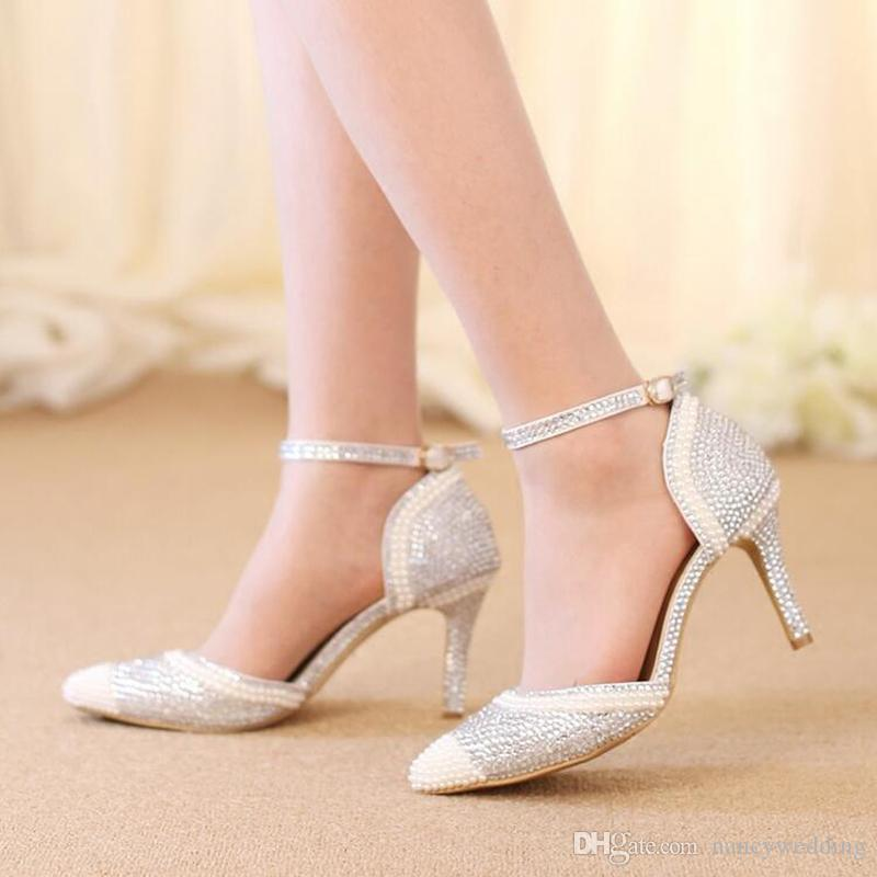 1b792dfb6 Sexy Silver Rhinestone Pointed Toe Bride Shoes Ankle Straps Gorgeous Wedding  Evening Party Pumps Fashion Handmade Middle Heels Burgundy Bridal Shoes  Cheap ...