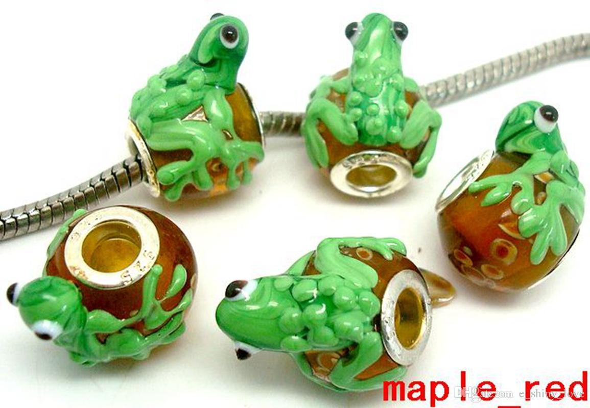 20 unids / lote granos de cristal de Murano de la rana de alta calidad para la joyería que hace los encantos de Lampwork flojos granos de DIY para la pulsera al por mayor en el precio bajo a granel