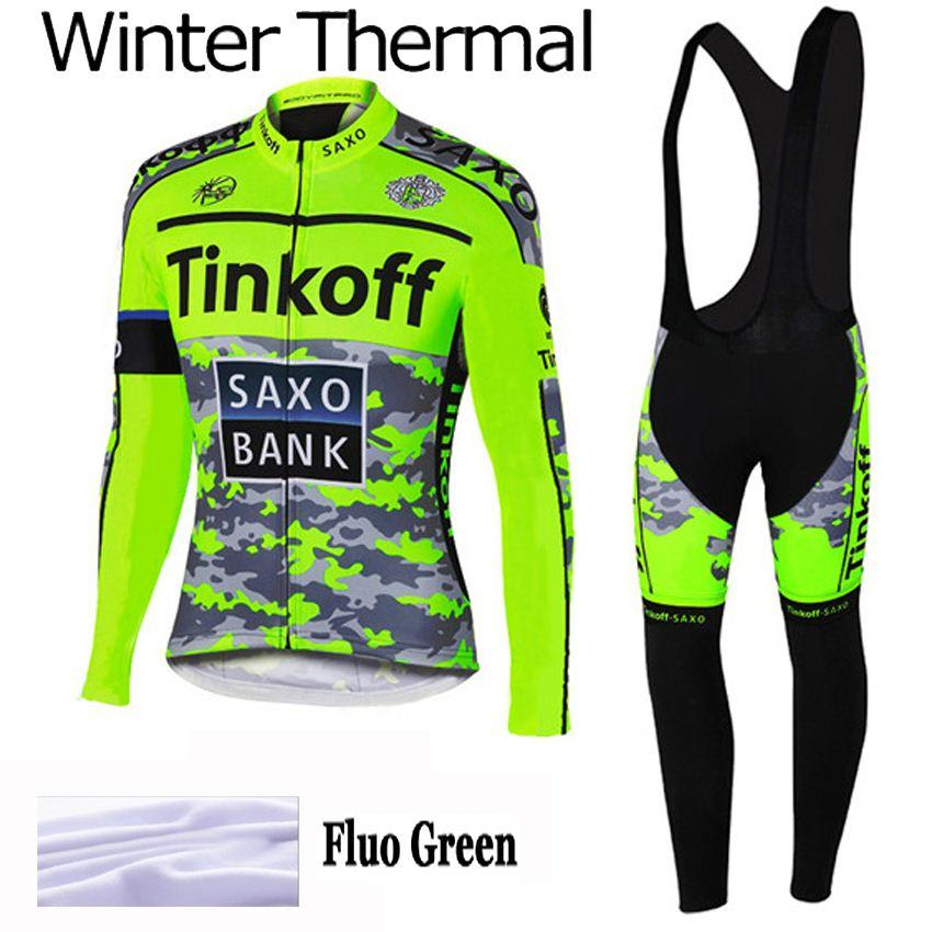 New Tinkoff Saxo Bank Winter Thermal Fleece Cycling Jersey clothing Ropa  Ciclismo Hombre Invierno Mtb Fluo Green Sets Saxo Fleece Cycling Jersey  Cycling ... 7ca45014b