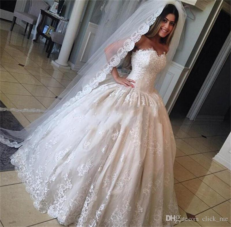 Discount Vintage Ball Gown Wedding Dresses Sweetheart Lace Appliques ...