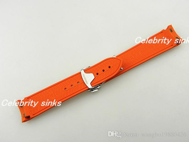 22mm Buckle 20mm NEW TOP GRADE Orange Waterproof Diving Silicone Rubber Watchband Straps with Silver buckle For Omega Watch