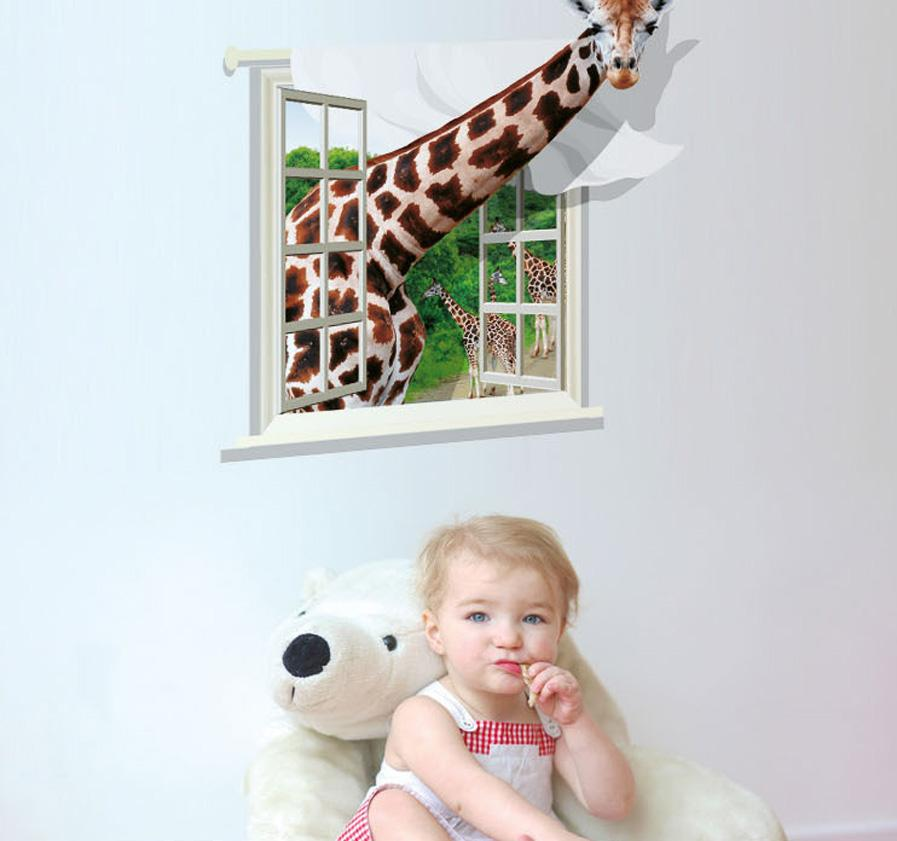 3D Giraffe Wall Stickers Individuality Creative Wall Sticker Decals For Kids Room The Sitting Room Bedroom Children Room Home Decor