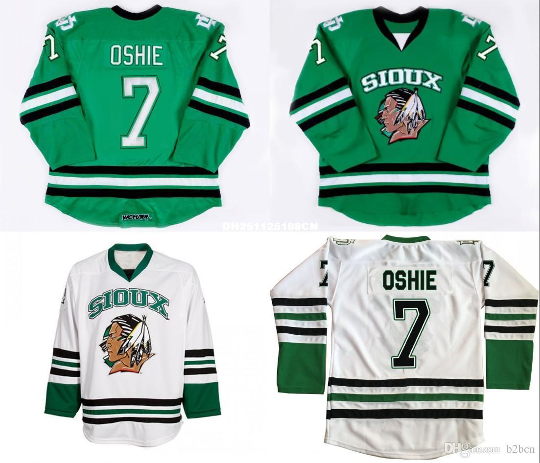 2019 North Dakota Fighting Sioux Hockey Jersey  7 TJ Oshie Green University  Stitched Jerseys Custom Name And Number From Etsyaliexpress b08cb1aa59e