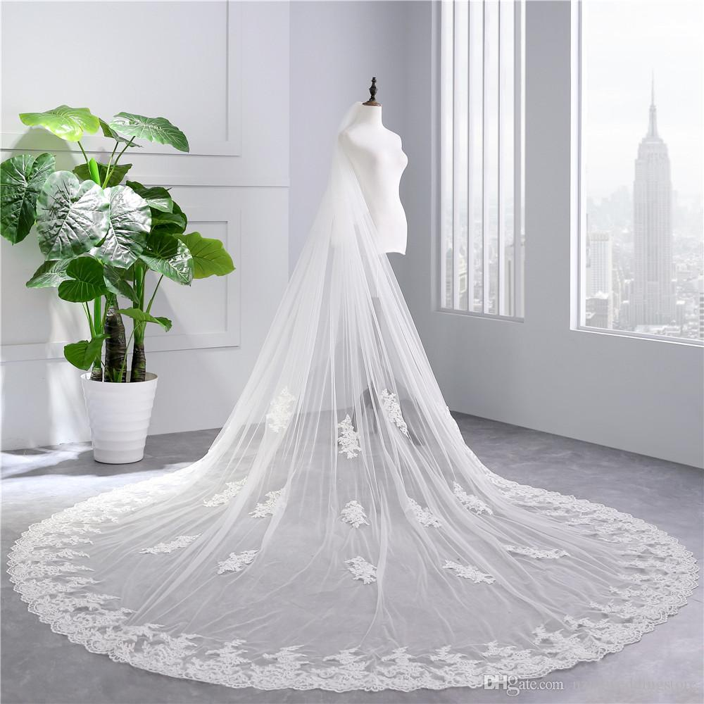 2018 Real Photos High Quality 2 Tiers Blush Cover Face Cathedral Shining Sequined Lace Wedding Veil with Comb New Bridal Veil