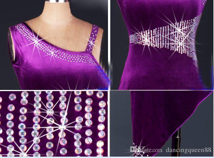 2018 고품질 라틴어 댄스 드레스 모조 다이아몬드 여성 레이디 의류 댄스 무대 의상 술 춤 드레스 댄스웨어 드레스