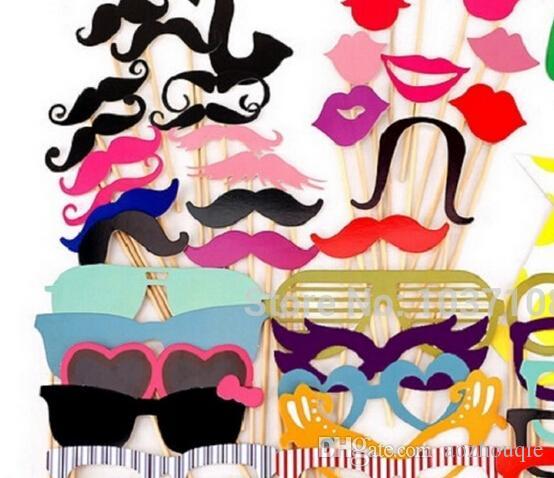 All'ingrosso Colorful Fun Lip decorazione di nozze Photo Booth Puntelli decorazione della festa nuziale favori maschere di partito / Set