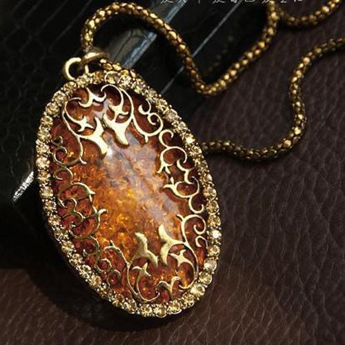 Gli amanti delle donne dell'annata scavano fuori i monili della collana del pendente della catena lunga ovali del Rhinestone Retro collane lunghe della catena del pendente Accessori DHL liberi