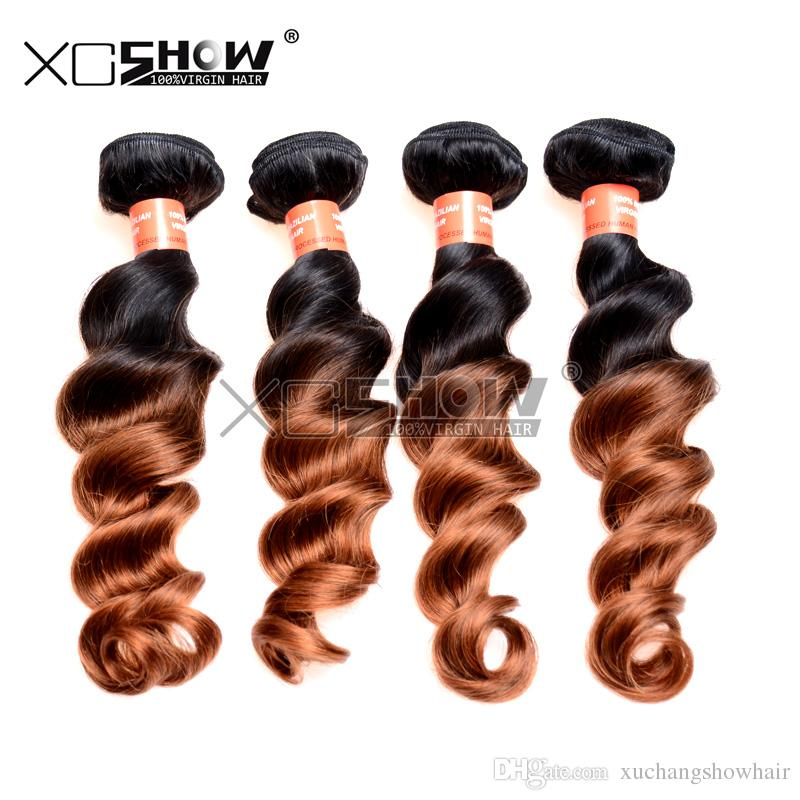 Hot Sale 7A Grade 100% Virgin Brazilian Loose Wave Two Tone Ombre Fumi Hair Bohemian Curls Extension Hair For Cheap Queen Wave