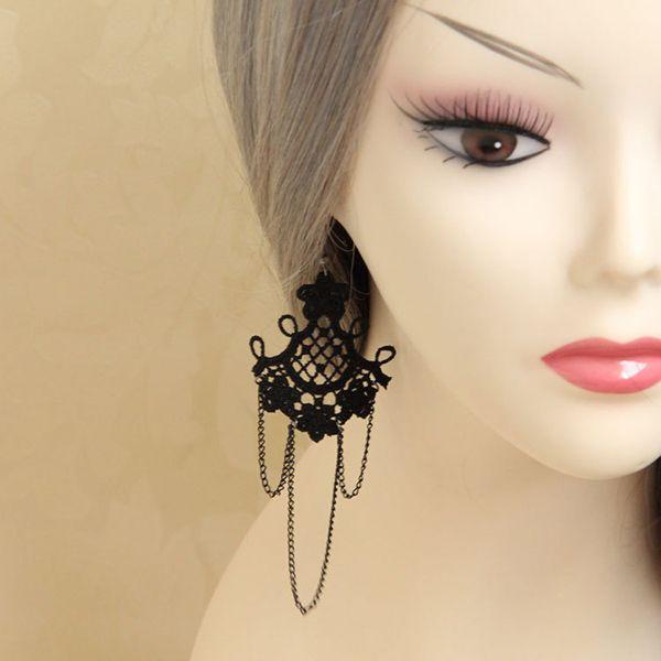 Ladies Women Black Lace Tassel Drop Dangle Chain Earrings Halloween Masquerade Cosplay Show Party Fancy Dress Hook Earrings Jewelry