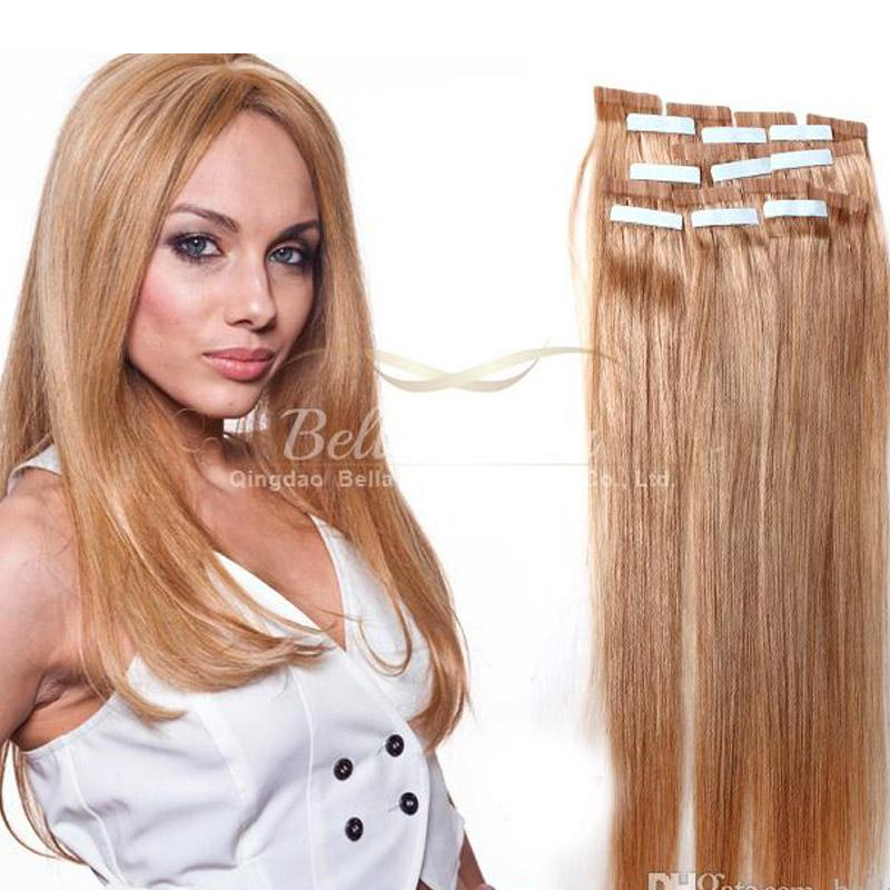 Skin Weft Hair Extensions Pu Hair Extensions Blond Brown Black Tape