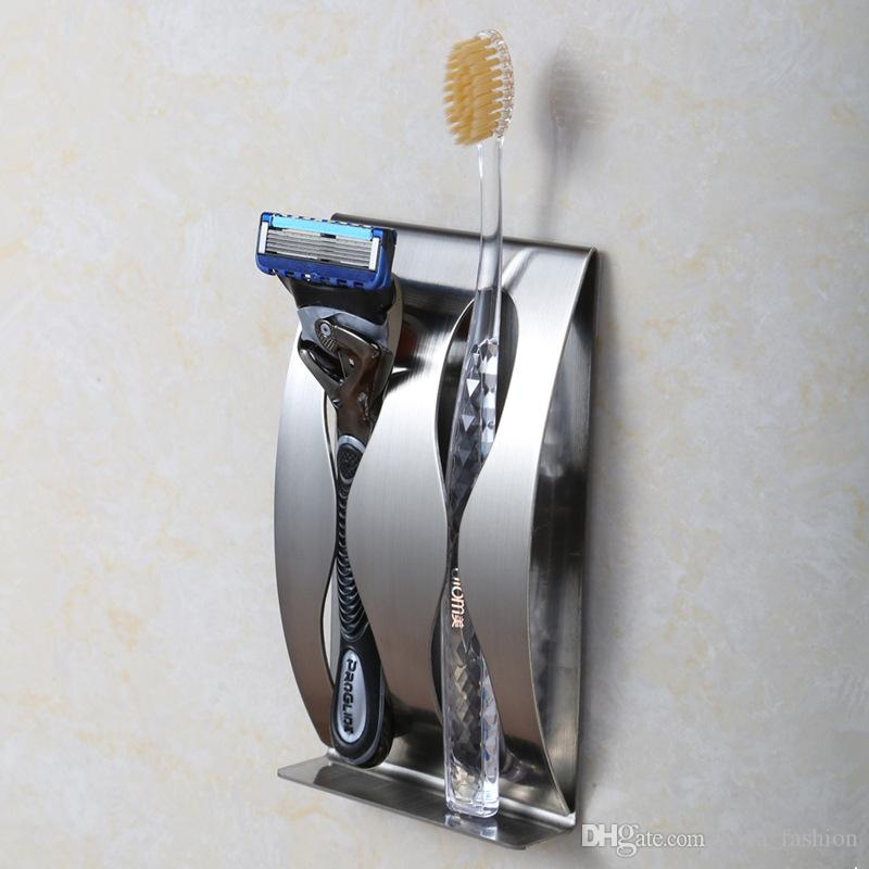 Stainless Steel Toothbrush Holders and Toothpaste Shelf Shaving Razor Stand Wall Mount Adhesive Tooth Brush Holder