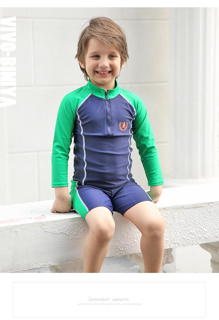 1894f93cd94ce Simple Design Boys Swimwear Long Sleeve Swimwear Quick Drying Two Piece  Swimsuit With Swimming Cap Highly Elastic Comfortable Swimwear UPF50 UK 2019  From ...
