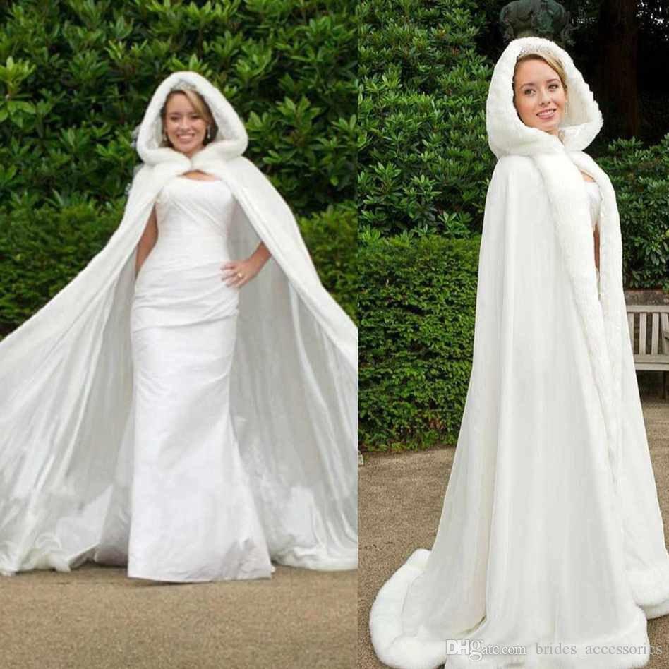 2019 Classic Winter Bridal Cape 67 Inch White Satin With Fur Trim