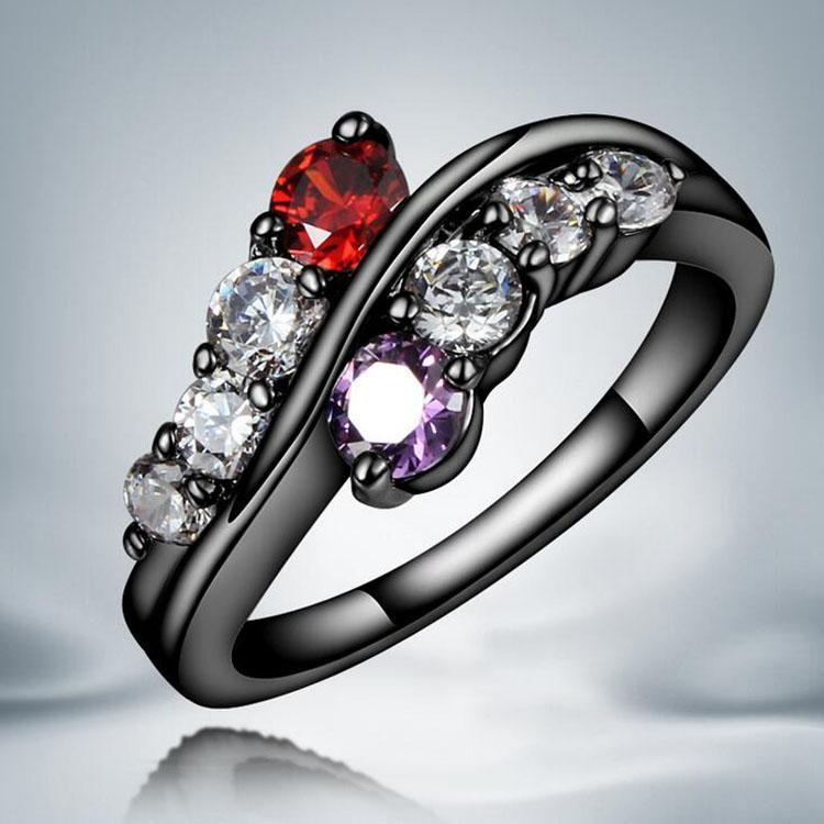 여성 패션 보석 도매 무료 배송 0373WH를 들어 블랙 골드 링 핫 판매 실버 상감 CZ 다이아몬드 손가락 반지