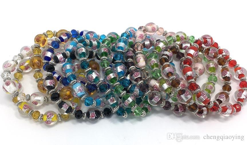 Marka yeni moda takı bilezikler başına 28 adet mix renkler cam ve kristal boncuk ayarlanabilir bilezikler drop shipping