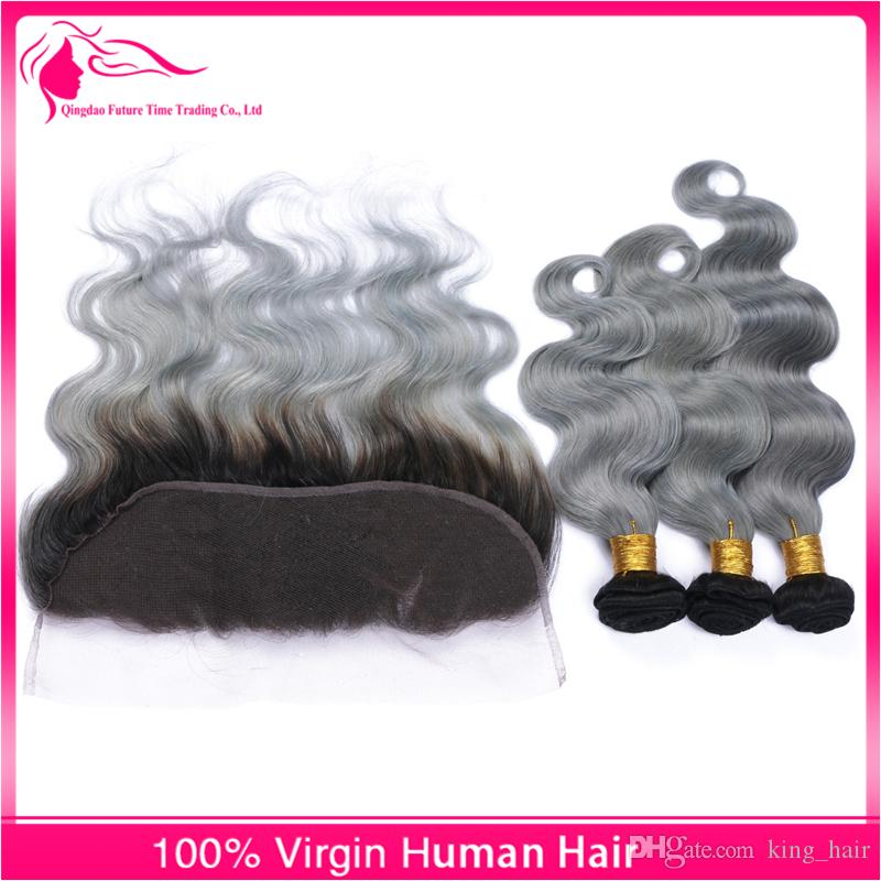 Full Lace Frontals With Brazilian Virgin Body Wave Hair Bundles Ombre #1B/Grey Two Tone Hair Weaves With Lace Frontal