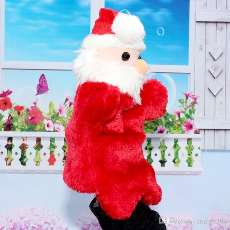 10 pçs / lote Novo 27 cm presente de Natal fantoches de mão Santa Claus boneca luvas brinquedos de Pelúcia bonecas de casamento de Pelúcia brinquedos