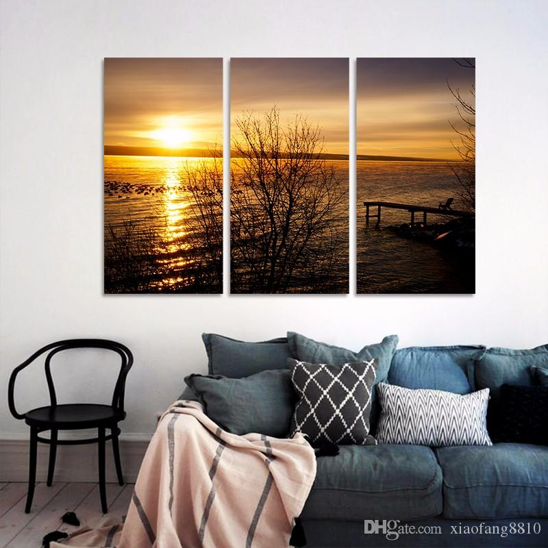 Sunrise Big size sea sun decoration gold seascape wall art pictures landscape Canvas Painting for living room unframed