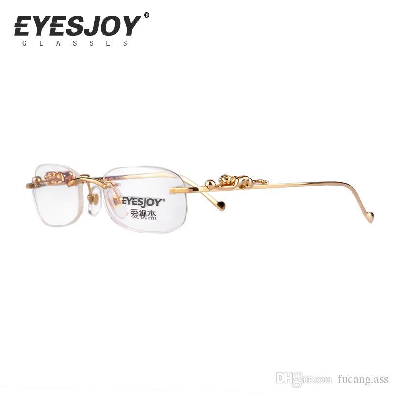 Rimless Luxury Prescription Eyeglasses Men Women Leopard Panther ...