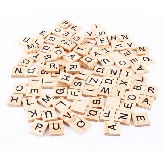 Best Quality Wooden Alphabet Scrabble Tiles Black Letters Numbers