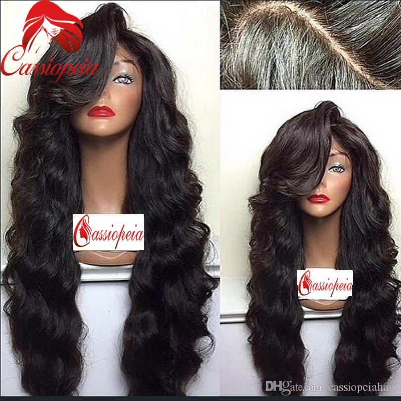 26 inch Long Body Wave Full Lace Wigs For Black Women Glueless Lace Front Body Wave Wigs With Side Bangs Natural Hailine