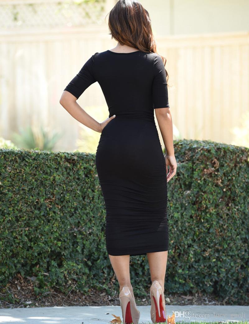 Nuove donne 2016 Moda sexy Estate autunno vestito Abiti lunghi maxi Vestito aderente sexy aderente Grigio Nero Abiti a matita vestidos femininos