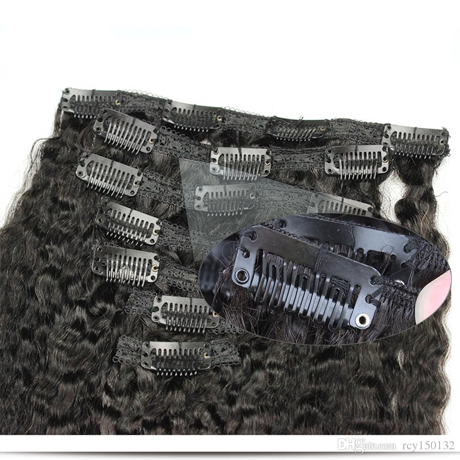 Virgin thick clip in hair extension 120g kinky straight clip in extensions natural kinky coarse clip ins