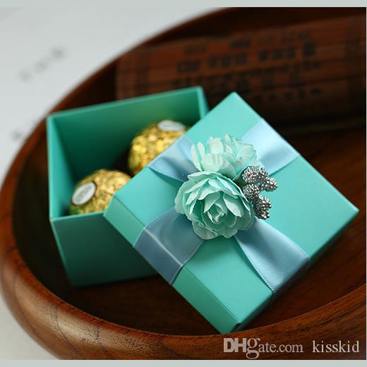Scatola di caramelle blu con rosa blu e nastro regalo di nozze partito con favore scatole 2 stile nuovo