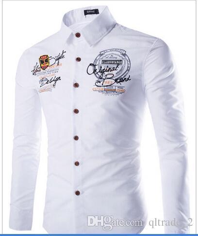 2016 년 새로운 겨울 청소년 비즈니스 셔츠 망 캐주얼 - 긴팔 셔츠 맞춤 편지 인쇄 셔츠