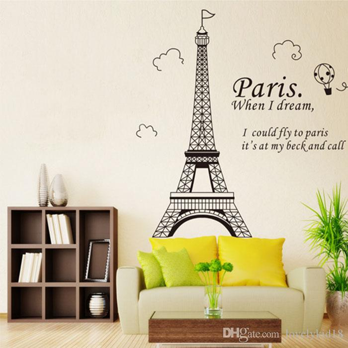 Paris Eiffel Tower Wall Sticker Removable Pvc Bedroom Living Room - Wall decals eiffel tower