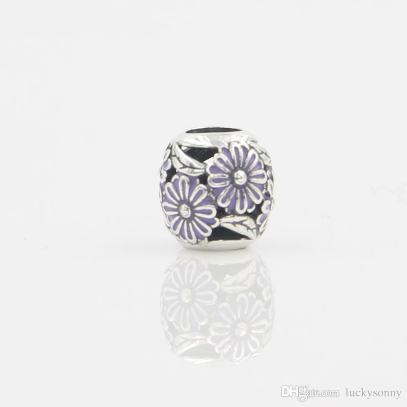Wholesale New Fashion Flower Enamel Round Beads Pendant Charm 925 Sterling Silver European Charms Bead Fit Snake Chain Bracelet DIY Jewelry