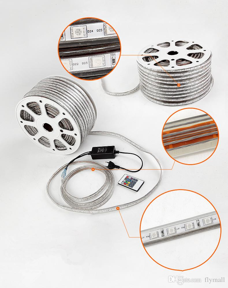 10M 15M 20M 25M 30M 35M 40M 45M 50M 110V/220V High Voltage SMD 5050 RGB Led Strips Lights Waterproof + IR Remote Control + Power Supply