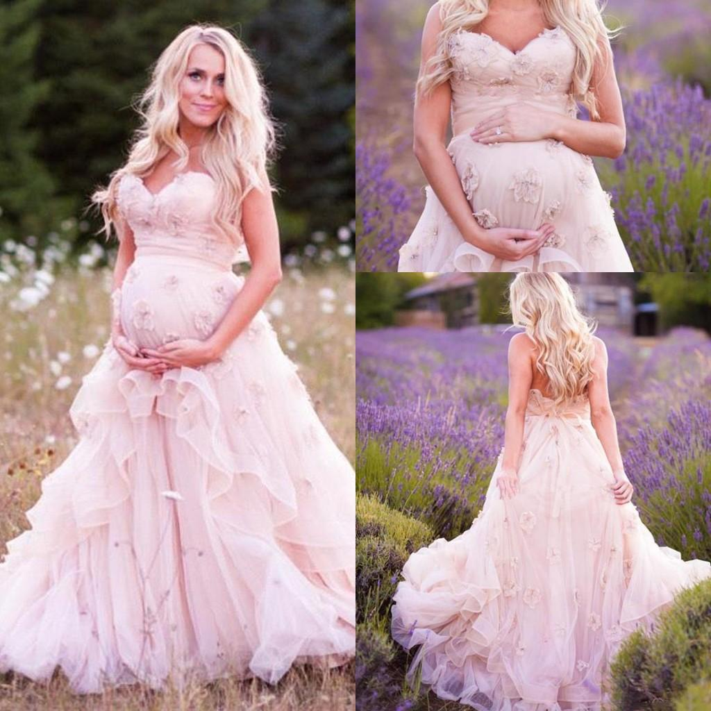 2016 Blush New Country Romantic Pregnant Wedding Dresses Sweetheart Hand Made Flower Style Corset Back Bridal Gowns With Sweep Train Short