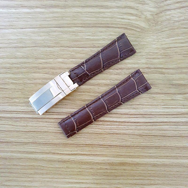 20mm Armband für Rolex SUB / GMT Lederarmband langlebiges Uhrenzubehör mit roségoldfarbener Originalstahlschnalle