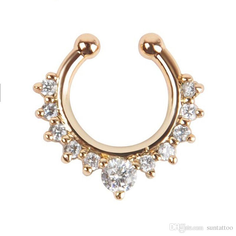 Non Piercing Fake Nose Ring Clip on Body Crystal Fake Piercing Rings Stud Punk Goth False Hoop Earrings Septum Limited Edition