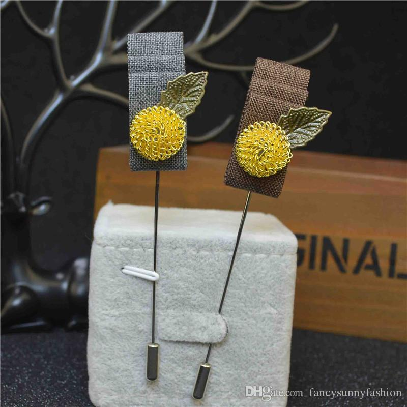 5c9a0ce00 2019 Price Cheap Luxury Flower Brooch Lapel Pins Handmade Boutonniere Stick  With Gold Plated Ball And Bronze Leaf And Fabric For Gentleman Suit From ...