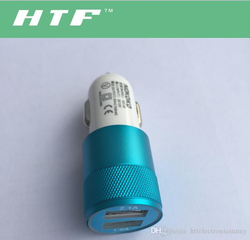 New Universal Vehicle 12V-24V 2Port USB1A,2.1A DC Car Charger USB Power Adapter For Cellphone tablet PC Hgih Quanlity
