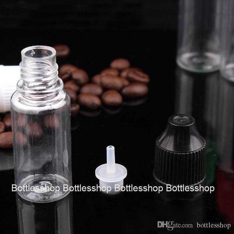 Botellas del dropper del líquido del ecigarette e del precio de fábrica 10ml PET con la extremidad fina larga y el casquillo de seguridad a prueba de niños con el triángulo de Braille