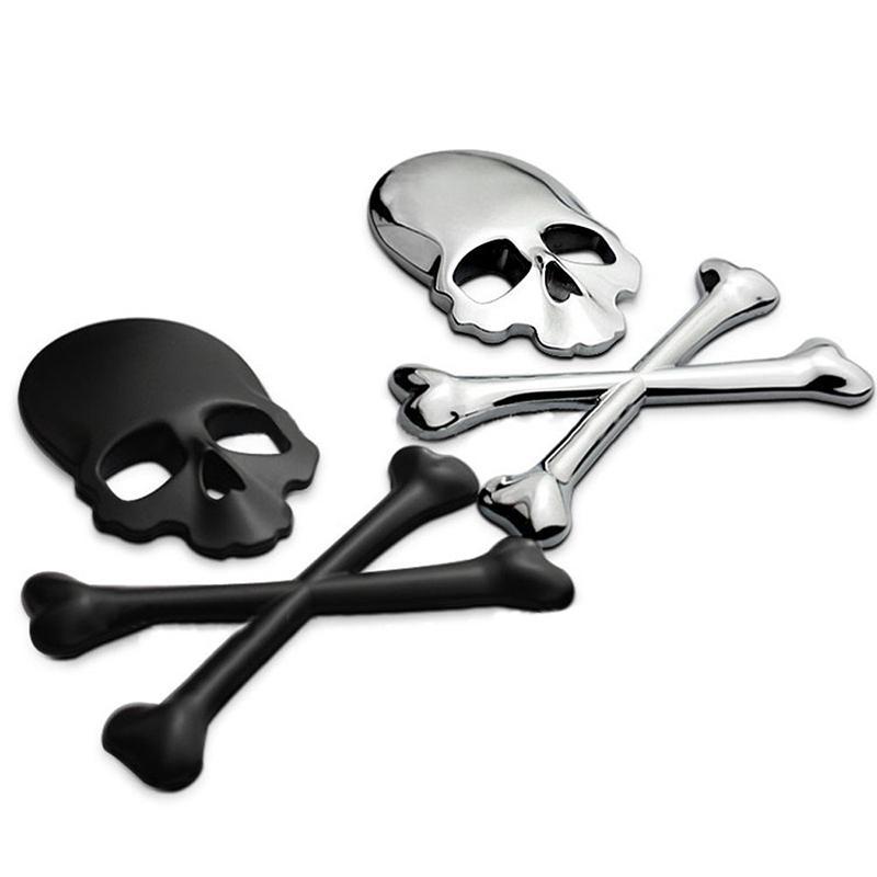 Compre Cráneo 3m Metal 3d Esqueleto Pirata Etiqueta Engomada Del ...