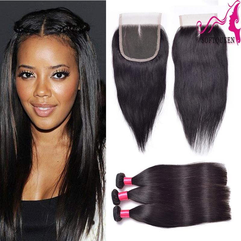 For Black Women Inidan Remy Straight Hair 3 Bundles And Top Lace