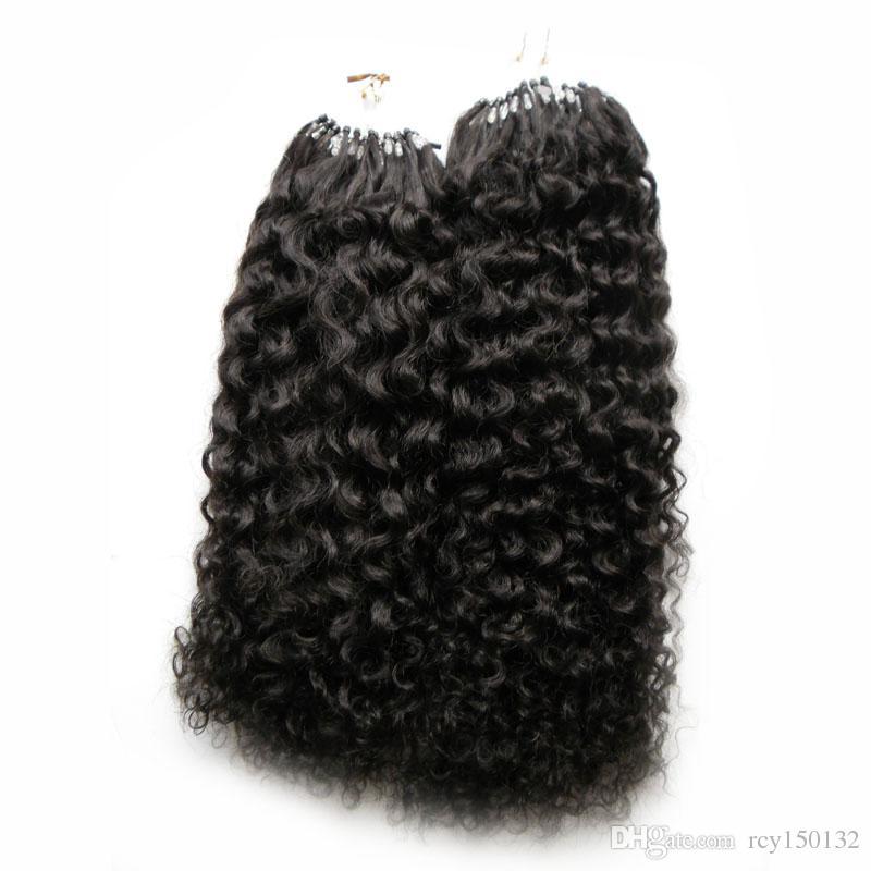 Mongolische verworrene lockige Haare Mikroschleifenmenschenhaarverlängerungen 200g # 1 Jet Black verworrene lockige Mikroschleifenhaarverlängerungen