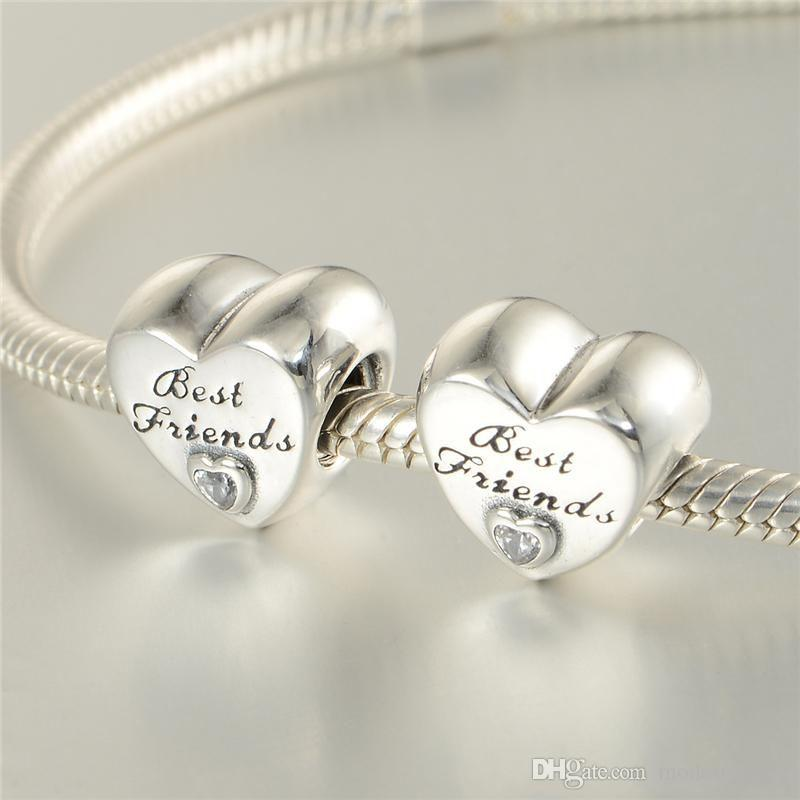 78f8649ed 2019 Best Friends Charms Beads S925 Sterling Silver Fits Pandora Style  Bracelets FRIENDSHIP HEART CHARM 791727CZ H9 From Modernqueen, $49.29 |  DHgate.Com