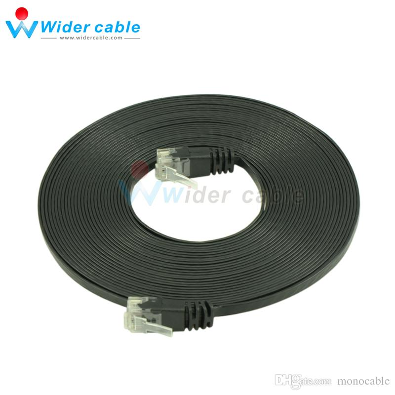 5m Black 1.1mm Thickness Passed Fluke CAT6 Patch Cord Ultra Flat UTP CAT 6 Network Cable With RJ45