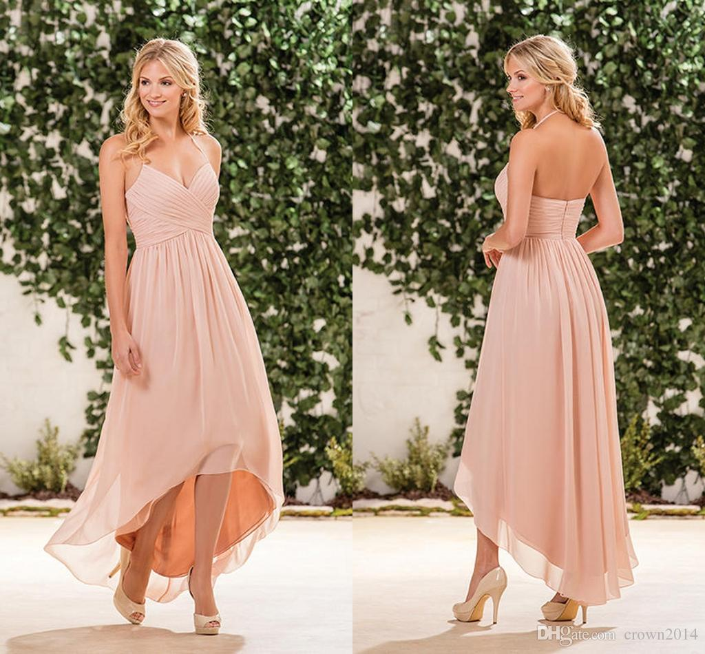 2019 Halter High Low Bridesmaid Dresses Blush Pink Chiffon Ruffle Pleated Backless Formal Country Plus Size Long Maid Of Honor Gowns