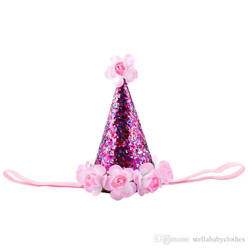 Cute Newborn Mini Glitter Birthday Hat Fashion Europe Little Girls Photo Props Hair Bands Elastic Kids Hair Accessory