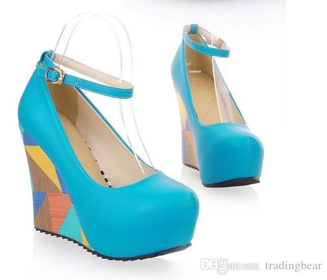 59871f4af5650e Adoration Bright Blue Tassels Suede Peep Toe Platform Wedges Heel ...